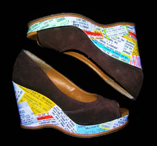 Concert ticket decoupage shoes wedges