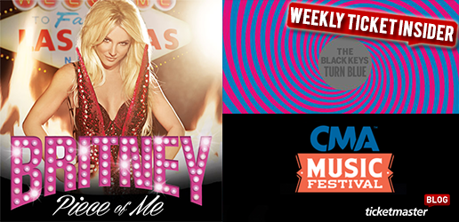 ticketmaster presale and new onsale tickets may 16, Britney, CMA Music Festival, Kings of Leon
