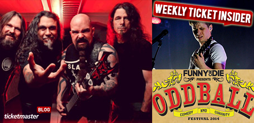 ticket onsales from slayer, oddball comedy and more