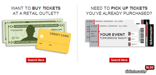how to pick up tickets at a Ticketmaster retail location