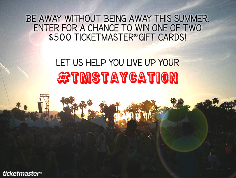 #TMStaycation Sweepstakes -Enter for a chance to win 1 of 2 Ticketmaster® Gift Cards