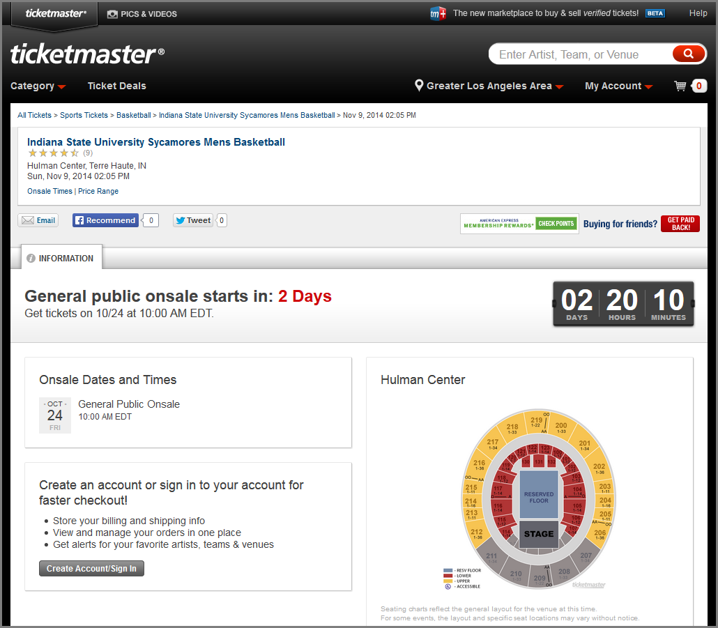 ticketmaster countdown timer ticket onsale example