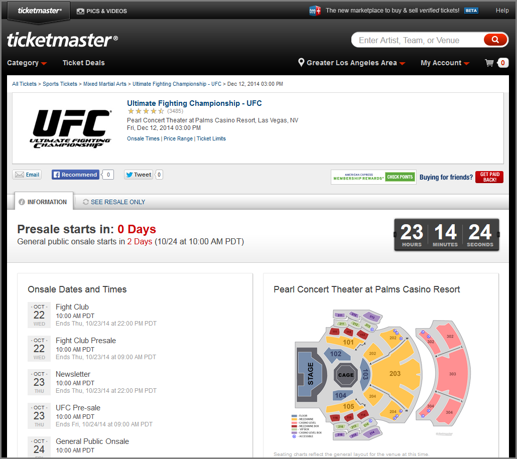 ticketmaster countdown timer ticket presale example