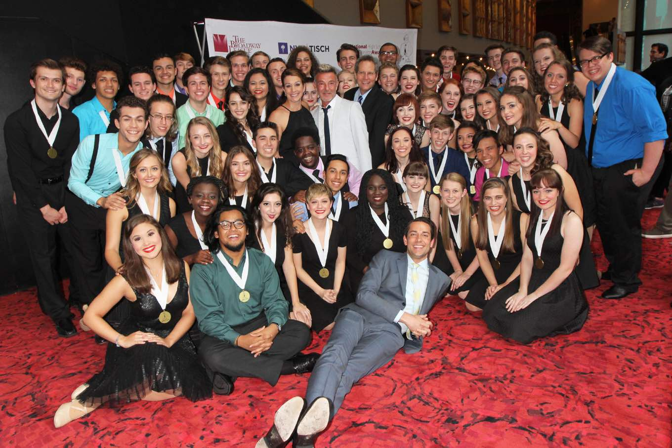 Zachary Levi, Host of the National High School Musical Theater Awards, poses with all the 2016 Nominees. (Photo by Henry McGee)
