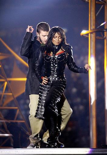 Justin Timberlake and Janet Jackson performs during halftime of Super Bowl XXXVIII Sunday, Feb. 1, 2004, in Houston. (AP Photo/Elise Amendola)