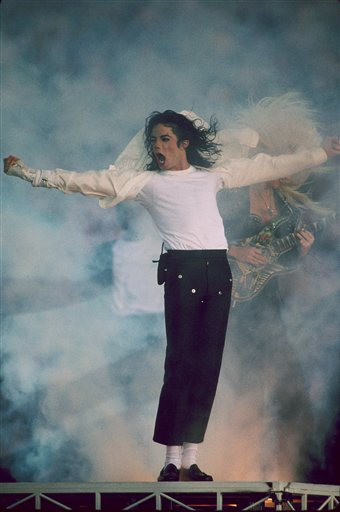Michael Jackson puts on spectacular halftime show at the Super Bowl XXVII game of the Dallas Cowboys vs the Buffalo Bills played at the Rose Bowl in Pasadena, California on January 31, 1993. Michael Jackson Performs At Super Bowl XXVII Halftime Show - January 31, 1993 (AP Photo/NFL Photos)