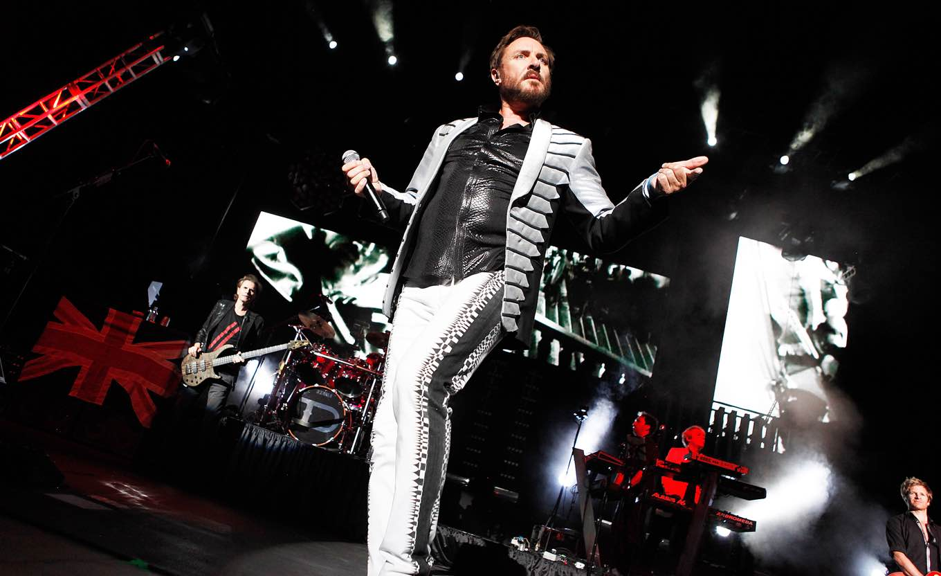 Duran Duran - Simon Le Bon Duran Duran in concert at the AVA Amphitheater Tucson, Arizona, America - 12 Aug 2012 (Rex Features via AP Images)
