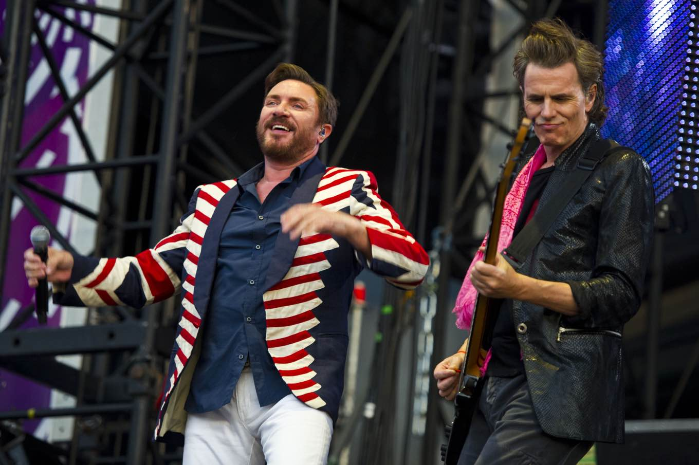 Duran Duran perform at the Opening Ceremony Celebration Concert in Hyde Park, London, Friday, July 27, 2012. The concert is part of a series of events being organised by the Mayor of London, Boris Johnson, to celebrate the London 2012 Olympic Games. (AP Photo/James McCauley)