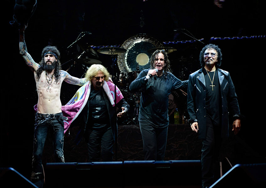 "Black Sabbath perform during their ""13"" Tour at PNC Bank Arts Center on August 4, 2013 in Holmdel, New Jersey"