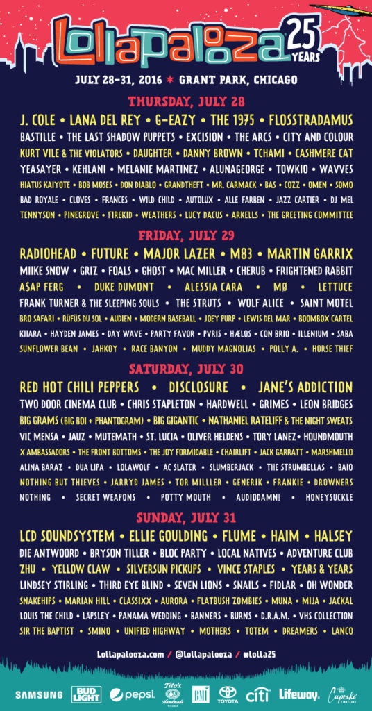 LOLLAPALOOZA 2016 Lineup by Day