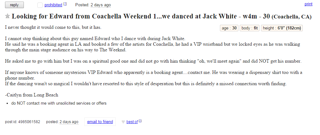 Missed Connections Craigslist Coachella