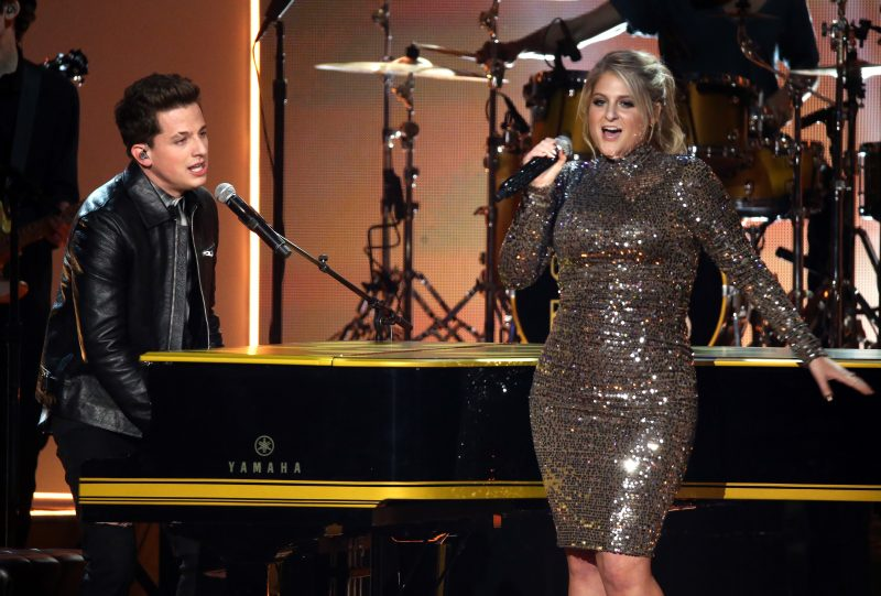 Charlie Puth (L) and Meghan Trainor perform onstage at the 2015 American Music Awards at Microsoft Theater on November 22, 2015 in Los Angeles, California. (Photo by Michael Tran/FilmMagic)