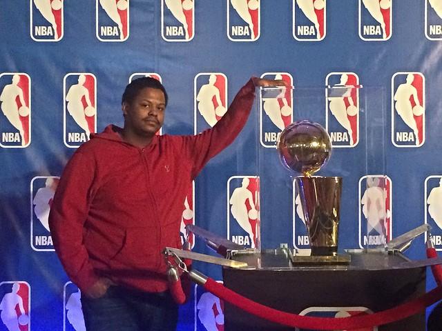 NBA Basketball Fan with trophy