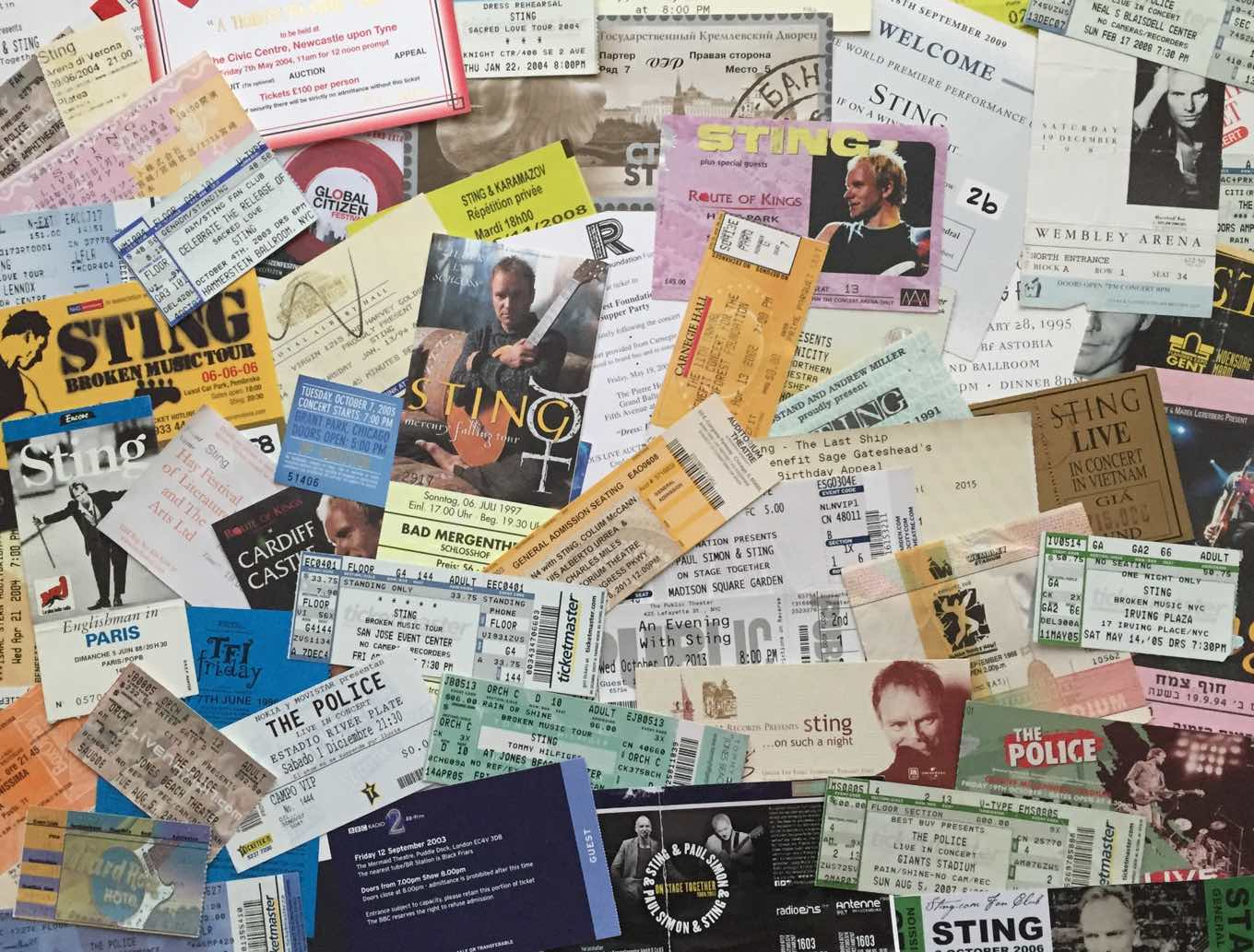 An epic ticket collection from a Sting Superfan