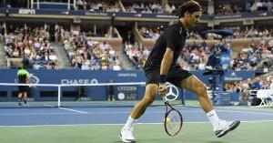 us open tennis federer between the legs shot