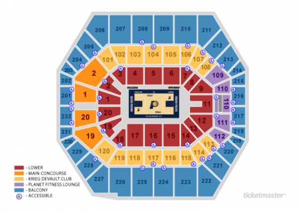 indiana pacers seating chart - bankers life fieldhouse