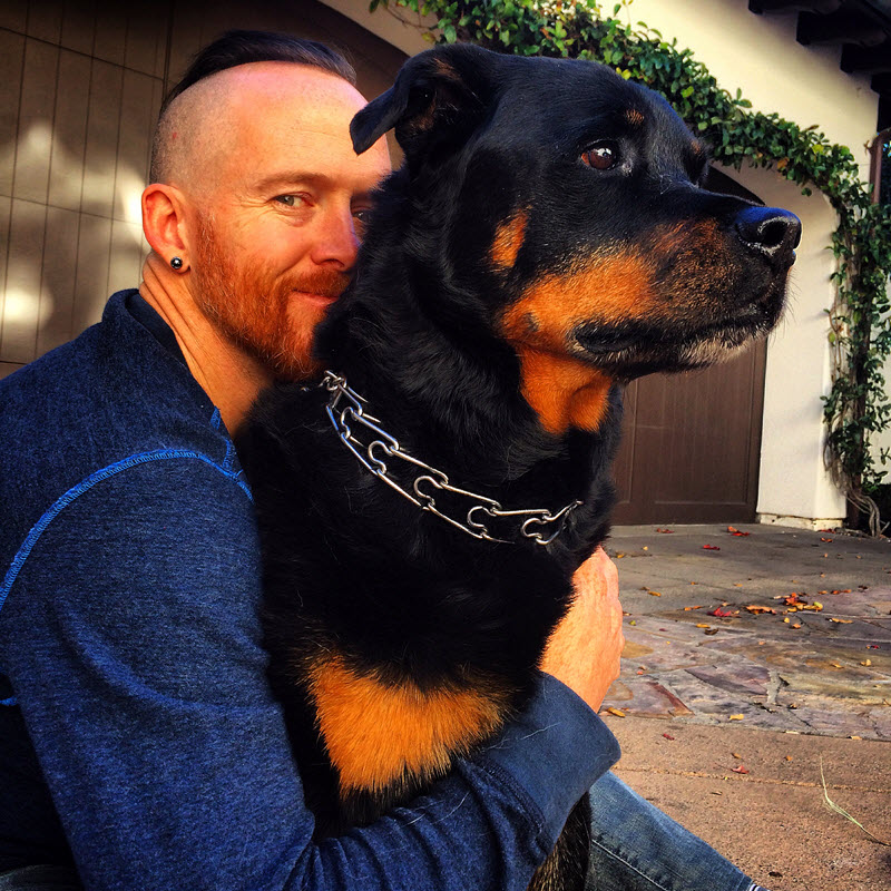 "Dave ""Phoenix"" Farrell: Linkin Park Bass Player with Dog"