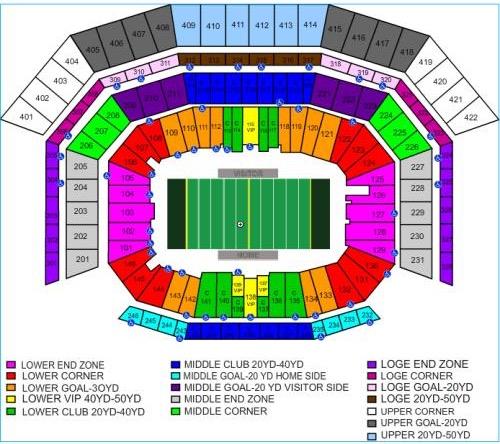 Super Bowl 50 Seating Chart at Levi's Stadium